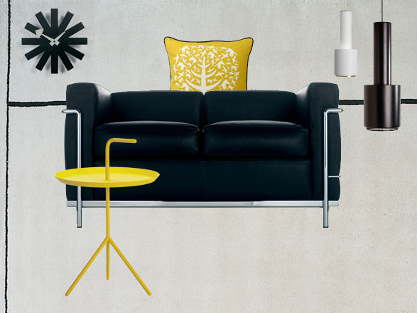 Monochrome Scrapbook – Cassina LC2 Two Seater Sofa in black leather, Vitra Asterisk Wall Clock  & the DLM Side Table