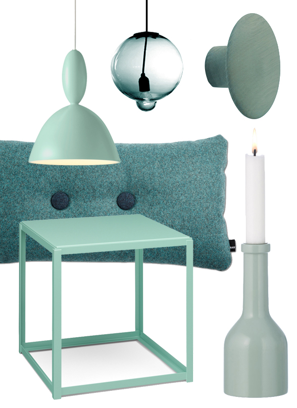 E15 Fortyforty Side Table, Cappellini Meltdown Lamp, Ferm Living Winebottle Candleholder, Muuto The Dots Coats Hooks, Muuto Mhy Pendant
