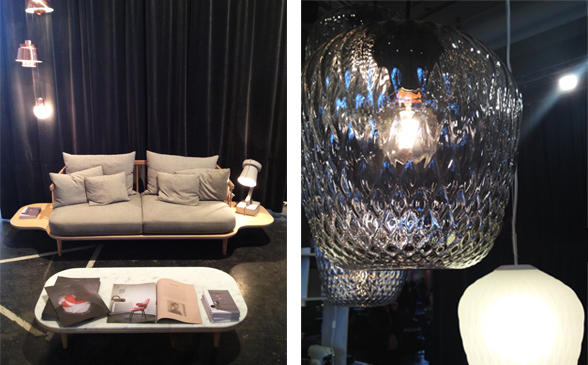 FLY Sofa and Ice pendants