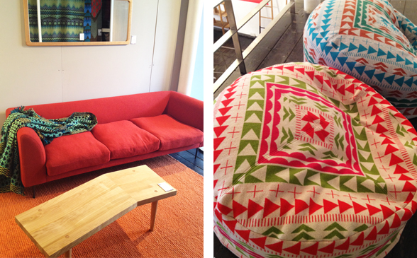 Red Sofa and Bean Bag