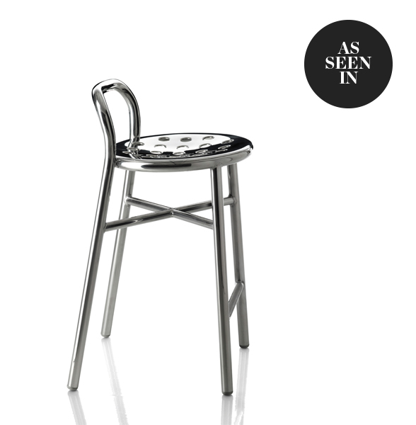Magis Pipe Bar Stool with Punched Steel Seat and Back in Polished Aluminium