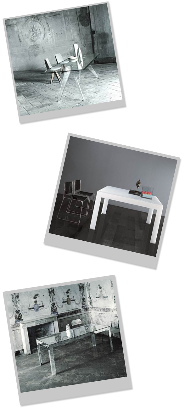 Alister Transparent Rectangular Table  Atlantis Tavoli Alti Dining Table in white  Mirror Mirror Table
