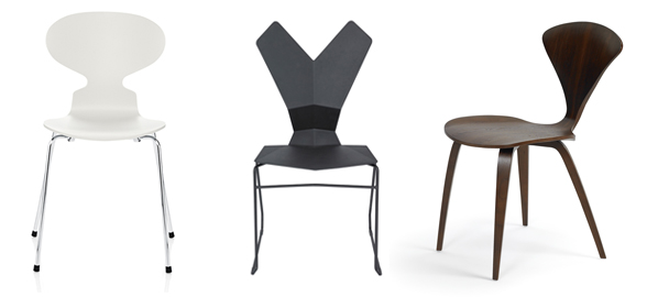 Fritz Hansen Ant Chair with 4 Legs Tom Dixon Y Chair Sled Base Cherner Side Chair