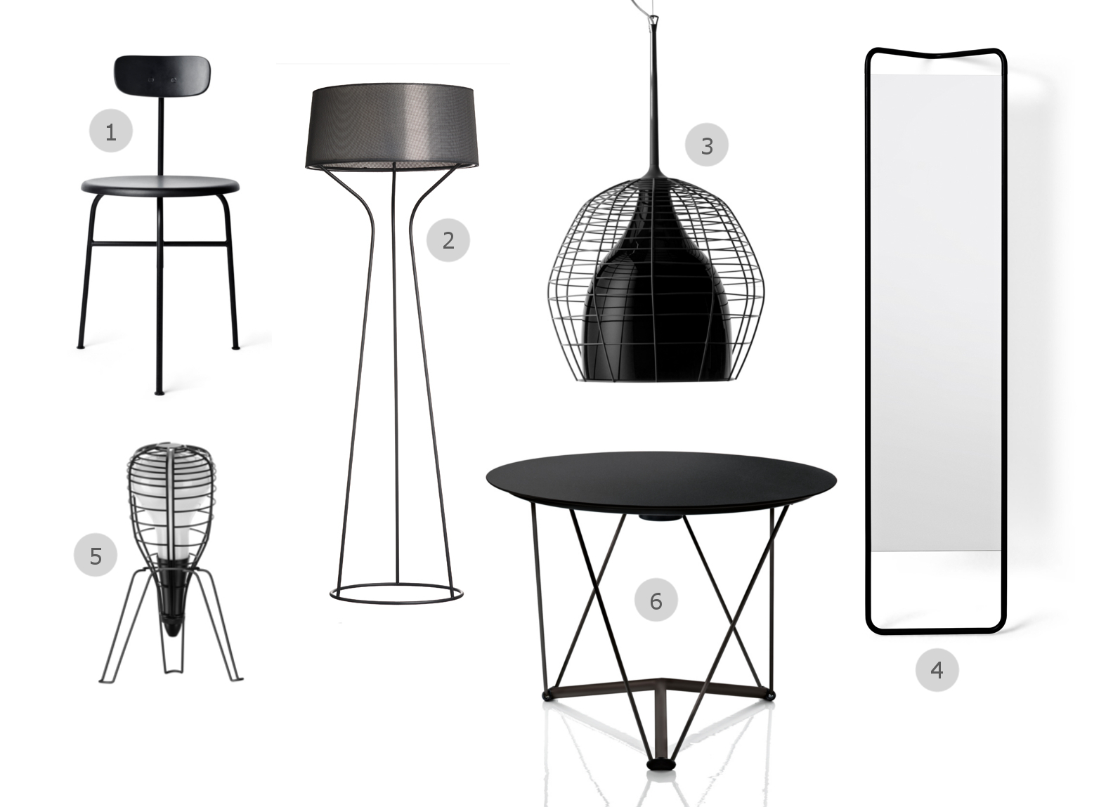 1. Menu Afteroom Chair 2. Orsjo Aria Floor Lamp 3. Diesel with Foscarini Cage Suspension Light Large 4. Menu Kaschkasch Floor Mirror 5. Diesel with Foscarini Cage Rocket Table Lamp 6. Magis Lem Round Table