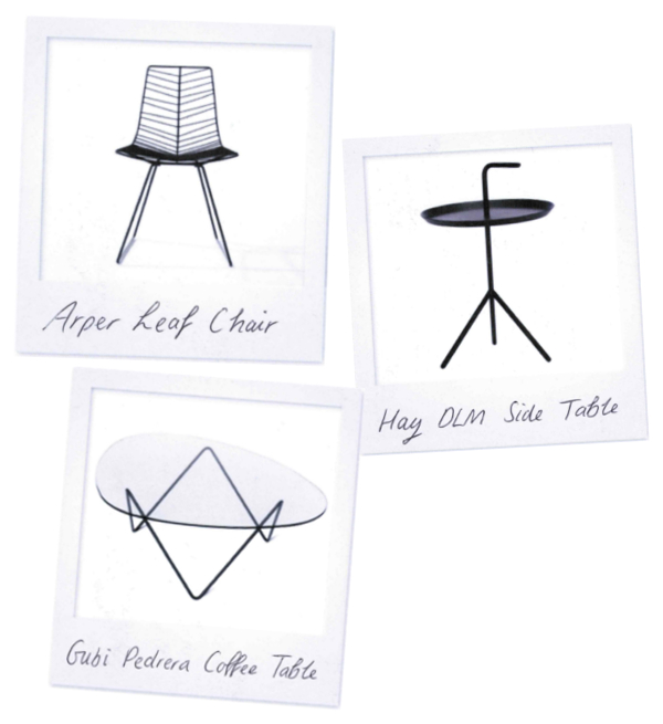 Arper Leaf Chair, Hay DLM Side Table, Gubi Pedrera Coffee Table