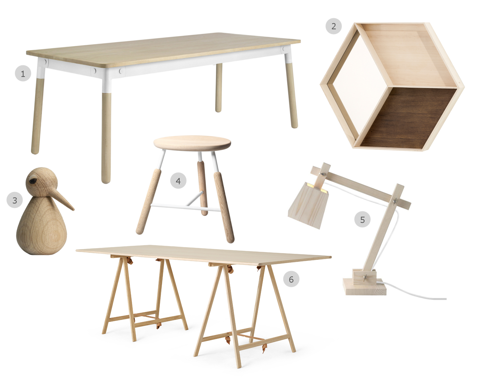 1. Muuto Adaptable Dining Table 2. Ferm Living Wall Wonder Mirror Maple 3. ArchitectMade Large BIRD Figure 4. &Tradition Raft Stool 5. Muuto Wood Table Lamp 6. Menu Knot Trestle Table Natural Ash
