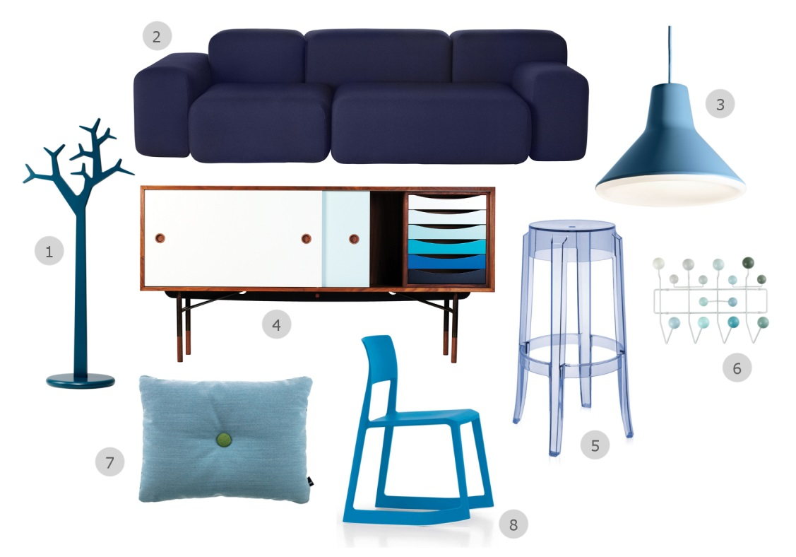 1. Swedese Tree Coat Stand 2. Muuto Soft Blocks Three Seater Sofa 3. Luceplan Archetype Suspension Light 4. Onecollection Finn Juhl Sideboard 5. Kartell Charles Ghost Bar Stool Light Blue 6. Vitra Eames Hang It All – White 7. Hay Dot Cushion Steelcut Trio 8. Vitra Tip Ton Chair
