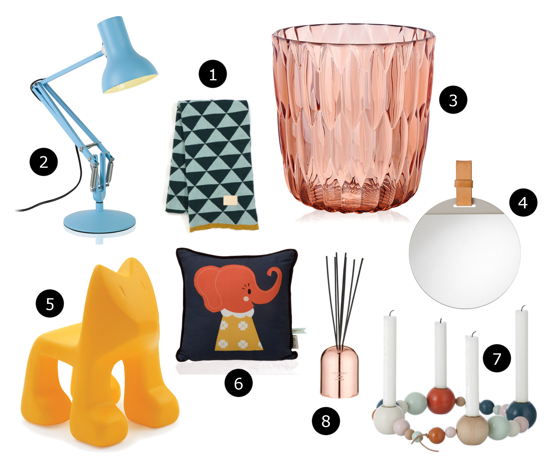 Ferm Living Remix Blanket, Anglepoise Type 75 Mini Desk Lamp, Kartell Jelly Vase in Rose, Ferm Living Enter Mirror, Magis Julian Chair, Ferm Living Elle Elephant Cushion, Ferm Living Candleholder String, Tom Dixon Scent London Diffuser