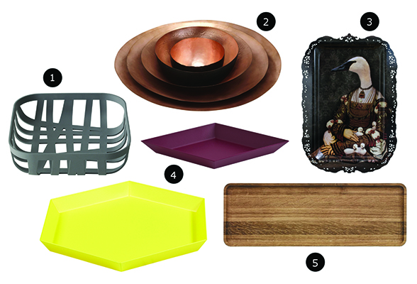 Muuto Wicker Bread Basket, Tom Dixon Form Bowl Tall Set Large Copper, ibride Bianca The Governess Tray, Hay Kaleido Trays, Iittala Vitriini Tray