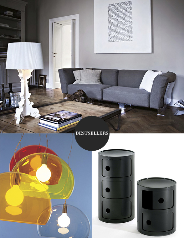 Kartell FLY Suspension Light Kartell Bourgie Table Lamp and Kartell Componibili Round Storage