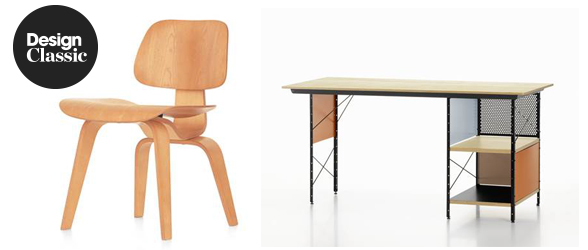Vitra DCW Eames Plywood Chair and Vitra Eames Desk Unit