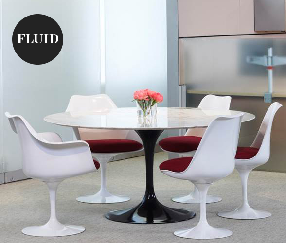 Knoll tulip chair and saarinen tulip dining table