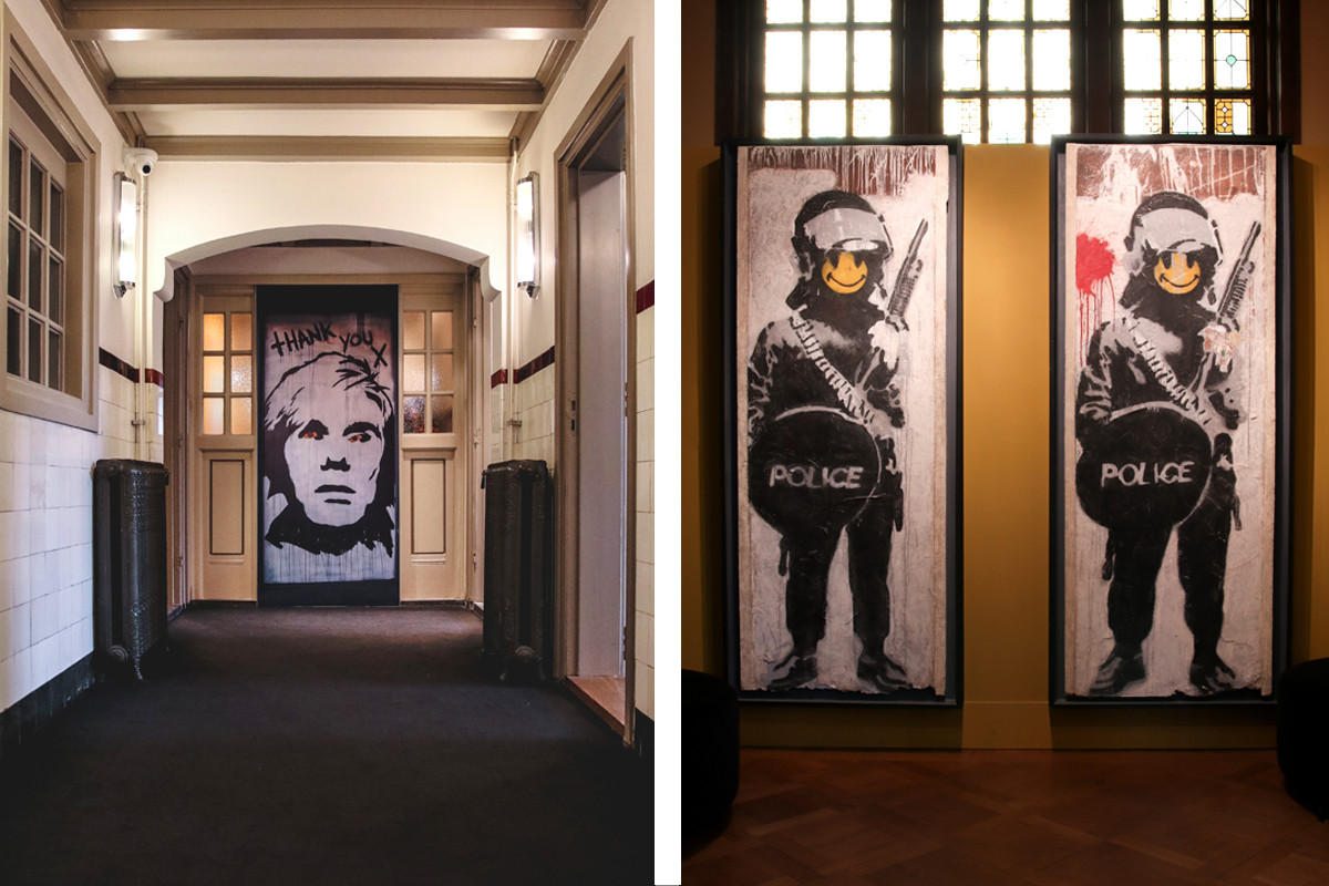 Double image spread of work by Banksy in Amsterdam's Museum Quarter. By Max Hawley.jpg