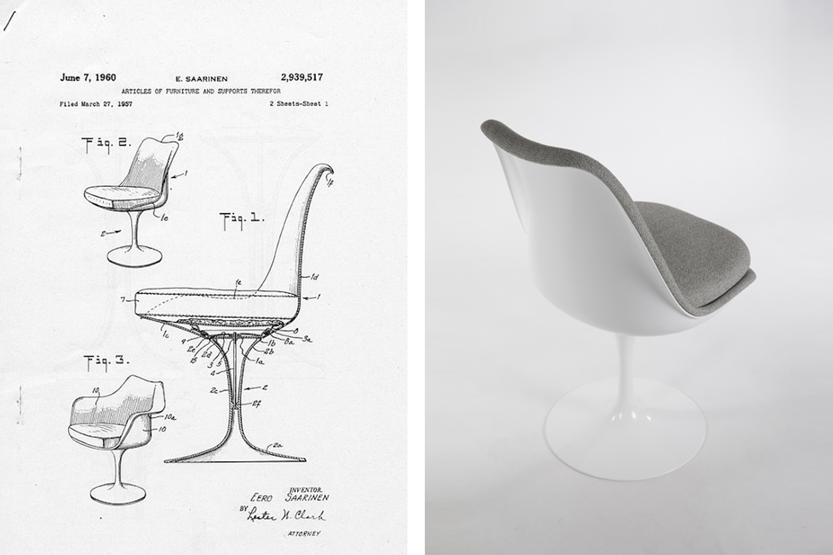 Original sketch for the Tulip Chair by Eero Saarinen next to the finished product