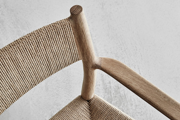 A detail shot of the paper cord back of the Brdr. Kruger ARV chair