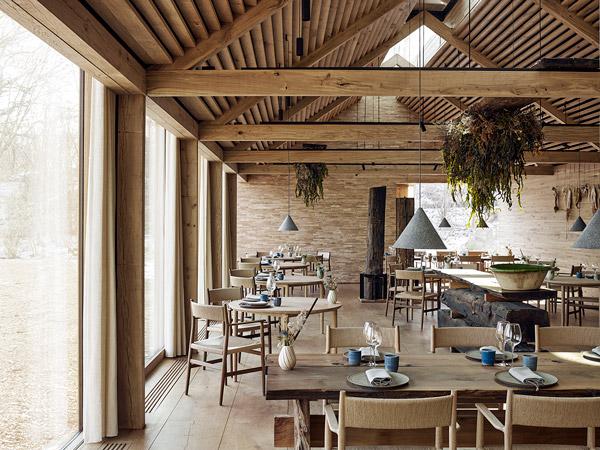 Inside the wooden interior of the noma restaurant in Copenhagen