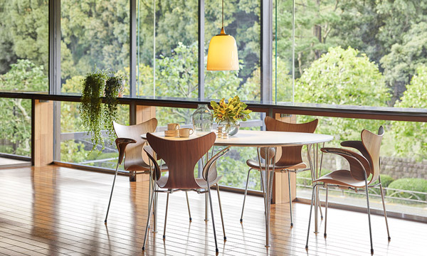4 Fritz Hansen Lily chairs around a table in front of large windows