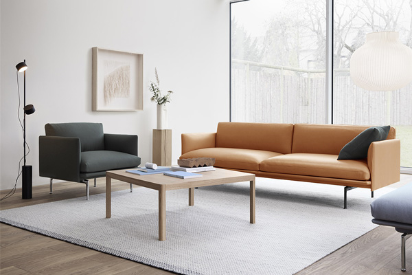 Muuto Outline Sofa and Armchair in a minimal living room