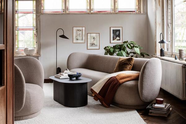 The Ferm Living Rico Sofa in a neutral living room