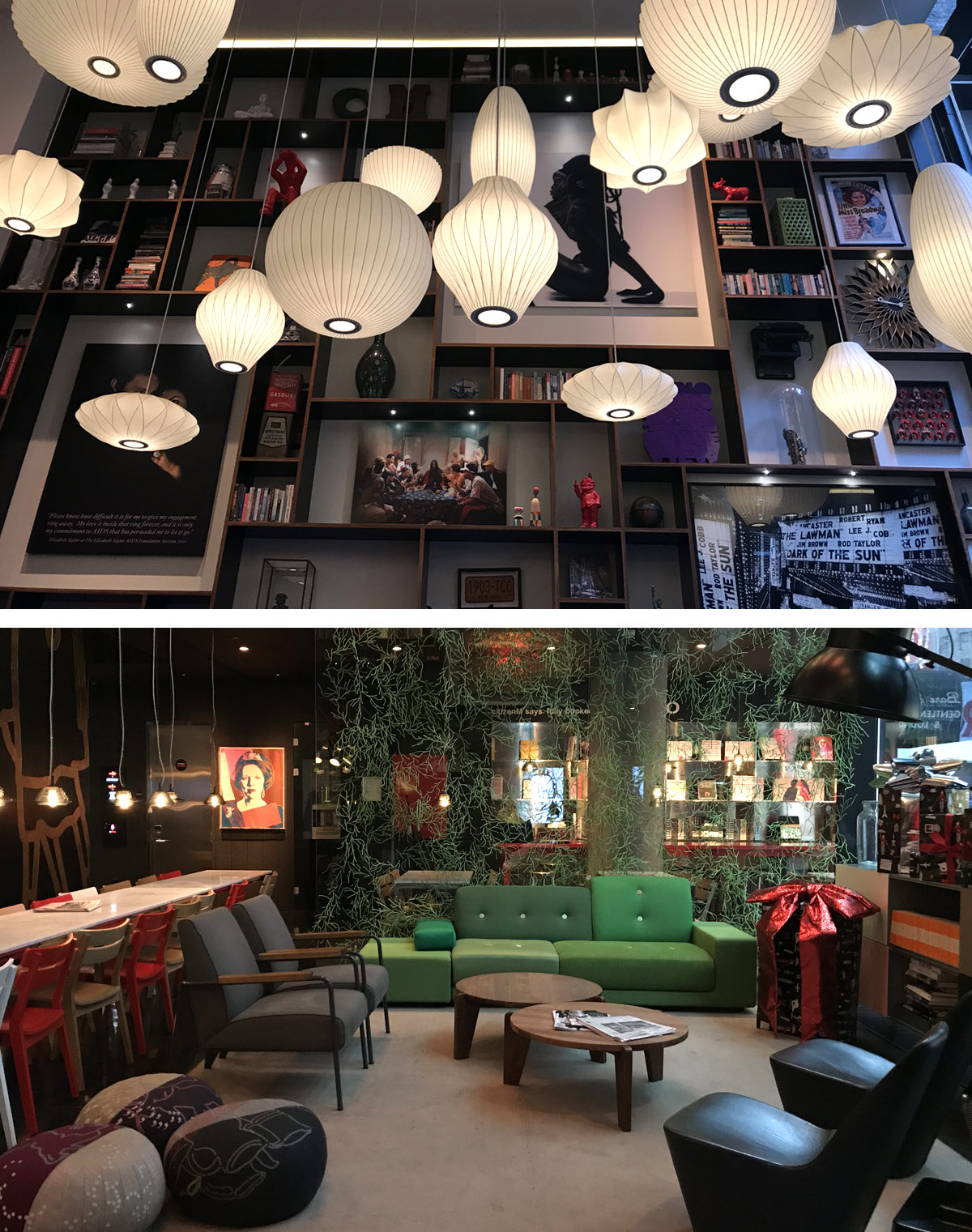 George Nelson Bubble Lamps and Vitra Furniture at the Citizen M Coffee Lounge