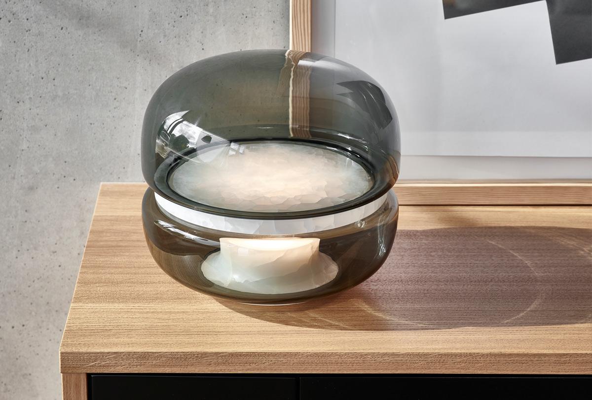 Brokis Macaron Table Lamp Small – Smoked Glass & White Onyx