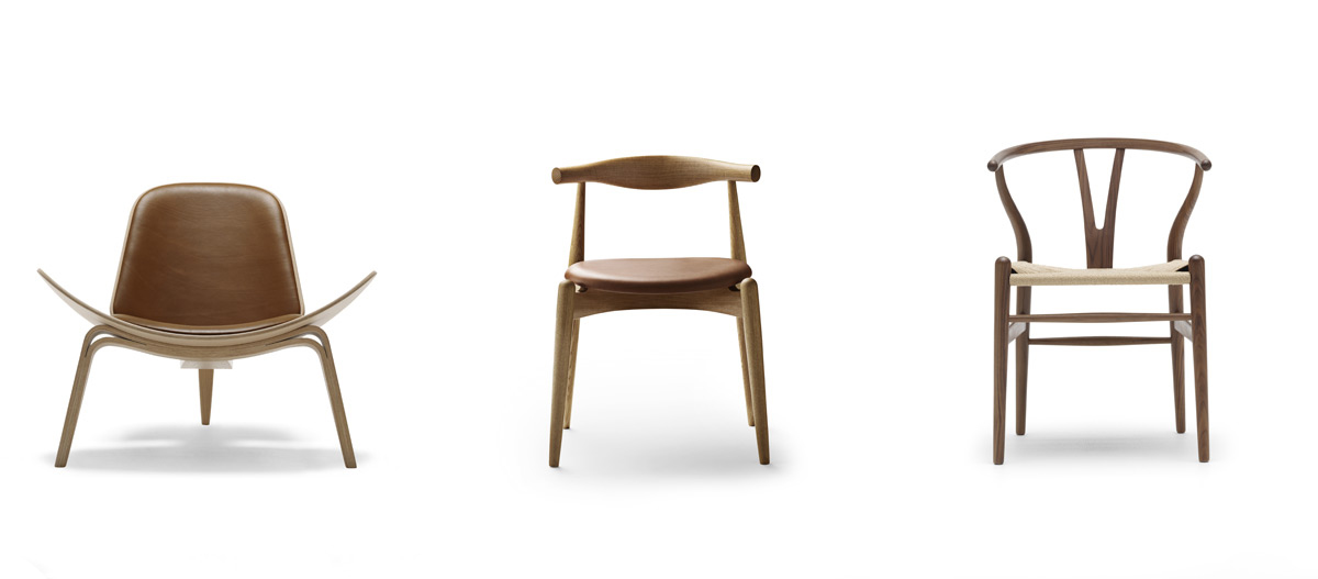 The Carl Hansen CH07, CH20 and CH24 chairs in a line
