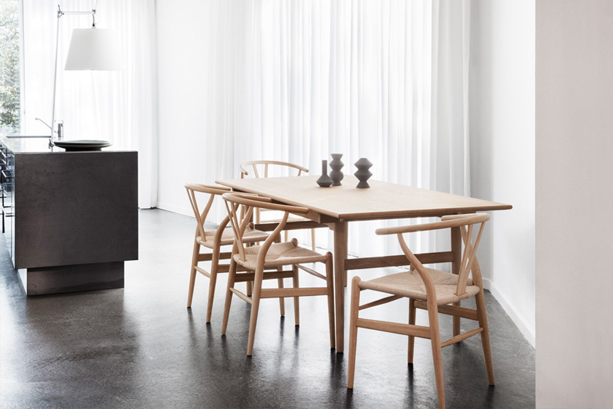 Carl Hansen CH24 Wishbone Chairs with Dining Table