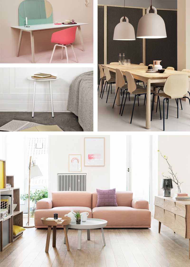 Nest.co.uk 10 Year Anniversary - Hay Shapes Mirror, Menu Yeh Wall Table Low White, Normann Copenhagen Bell Pendant Light - Sand & Muuto Connect Two Seater Sofa.jpg