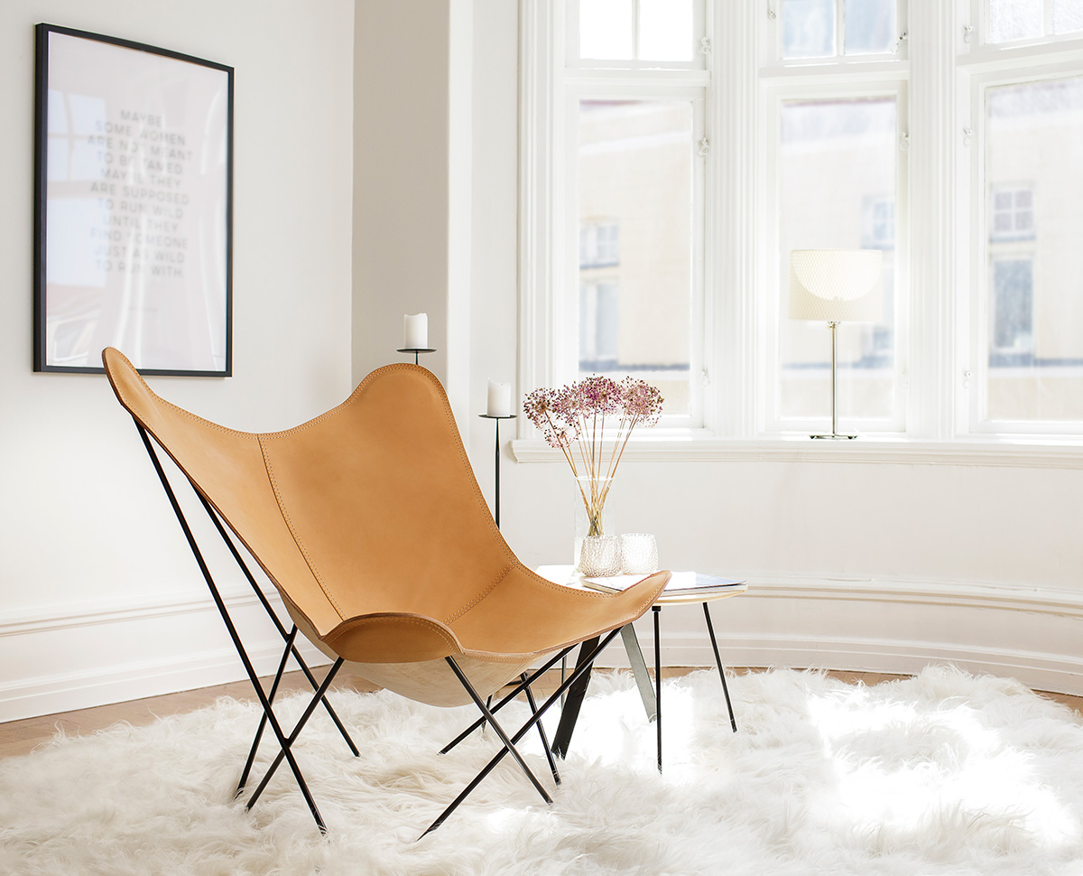 Cuero Design Leather Butterfly Chair - Pampa Mariposa in Crude Nature