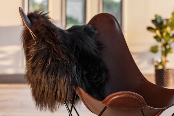 Cuero Design Icelandic Sheepskin on a Butterfly Chair