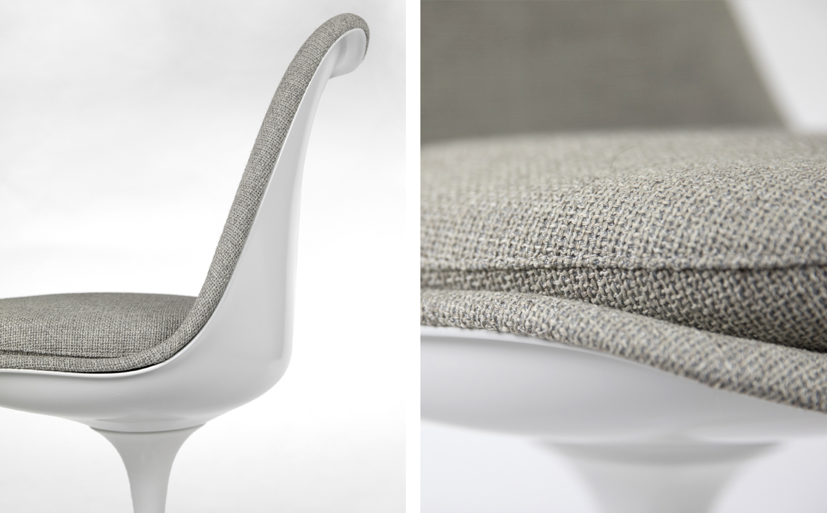 The Knoll Tulip Chair upholstery is created with a careful attention to detail