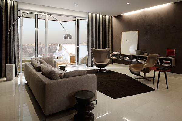 Flos Arco Floor Lamp in a contemporary lounge setting