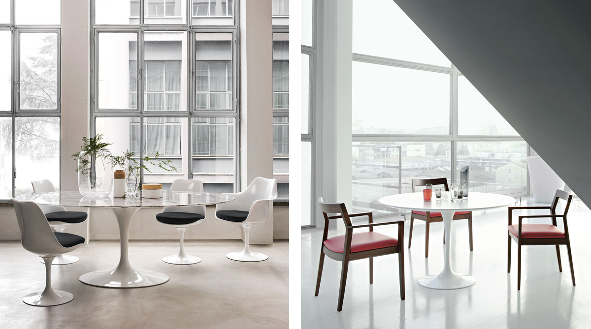 Knoll Saarinen Tulip Dining Tables with Tulip Chairs and Krusin Dining Chairs