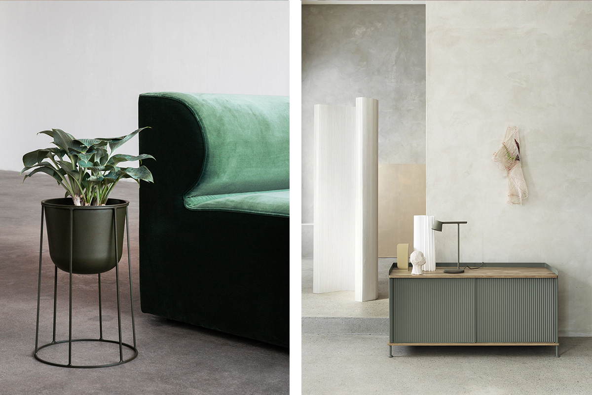 Menu Wire Plant Pot and the Muuto Enfold Sideboard