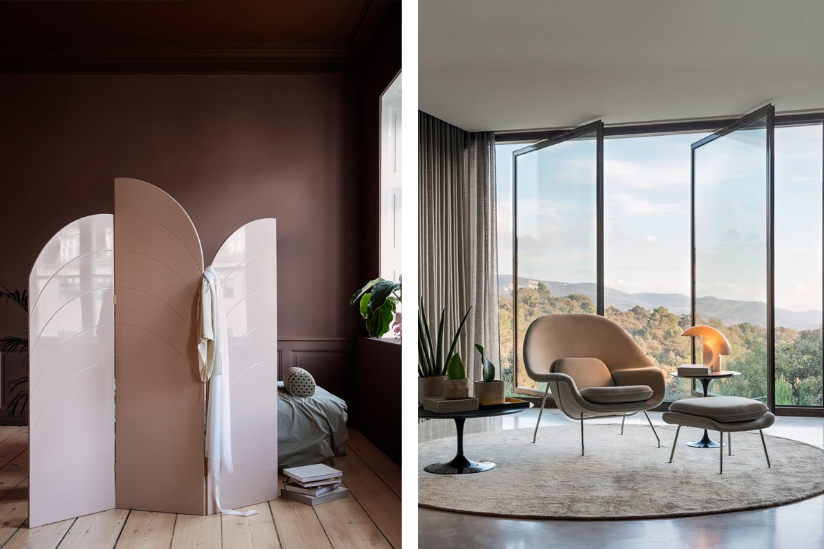 Ferm Living Unfold Room Divider in rose and the Knoll Studio Womb Chair & Ottoman