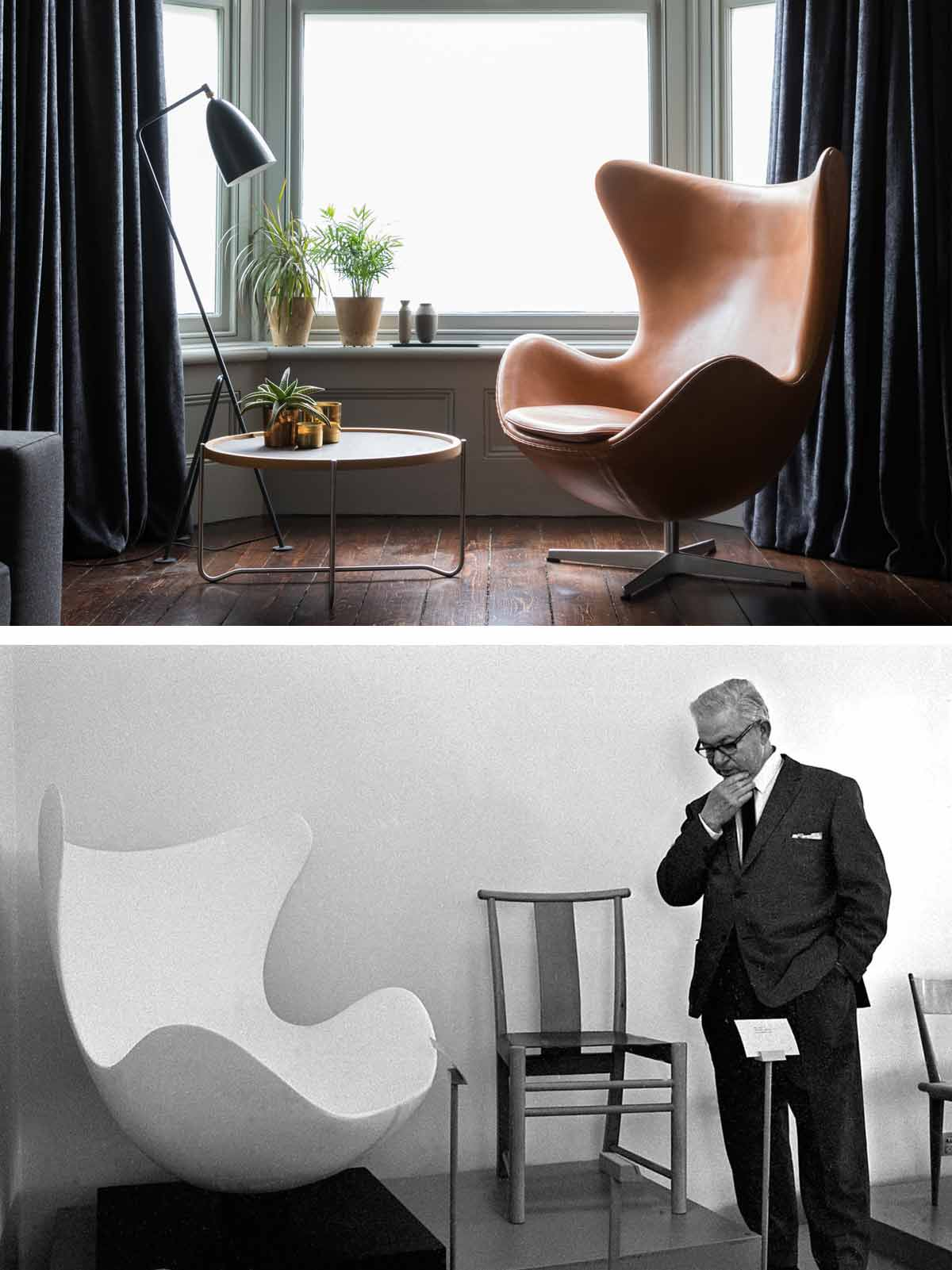 The iconic Egg chair in domestic and gallery settings