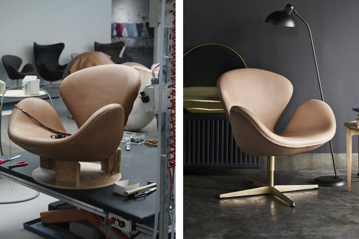 The Swan Chair under construction and as a finished product