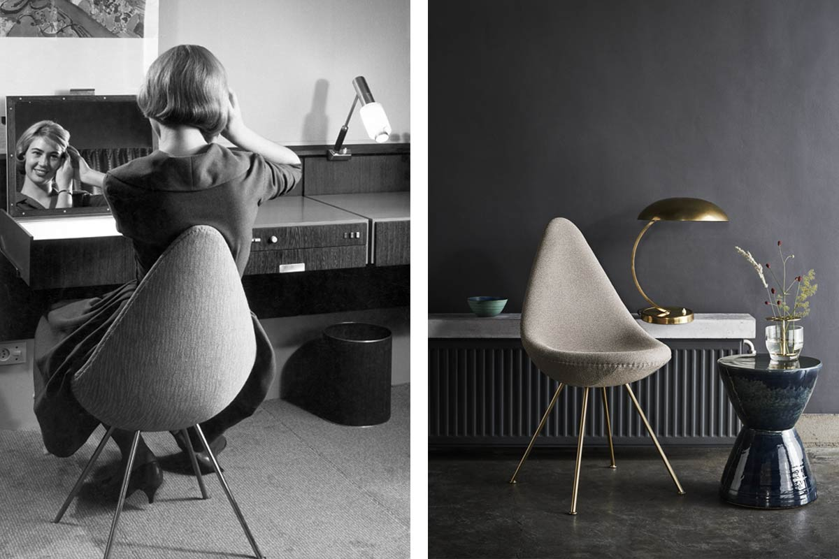 Arne Jacobsen's Drop Chair in the 50s and the 60th anniversary edition