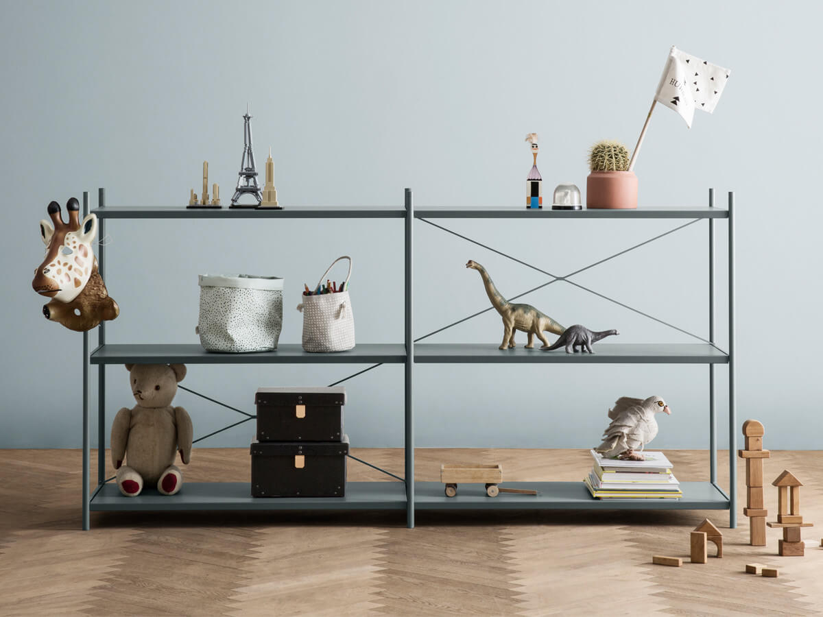 Ferm Living Punctual Shelving System 2x3 in dusty blue with toys