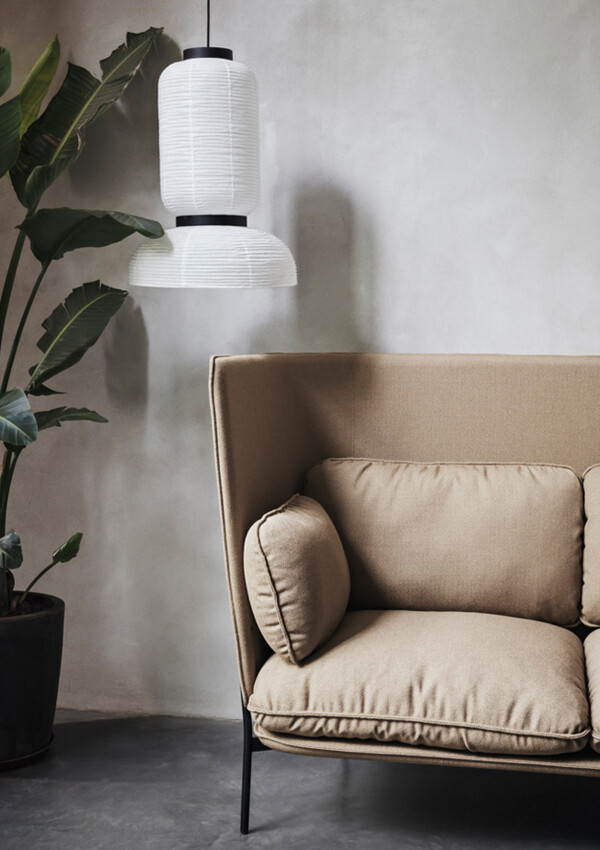 &Tradition Formakami JH3 Pendant Light above Cloud Sofa