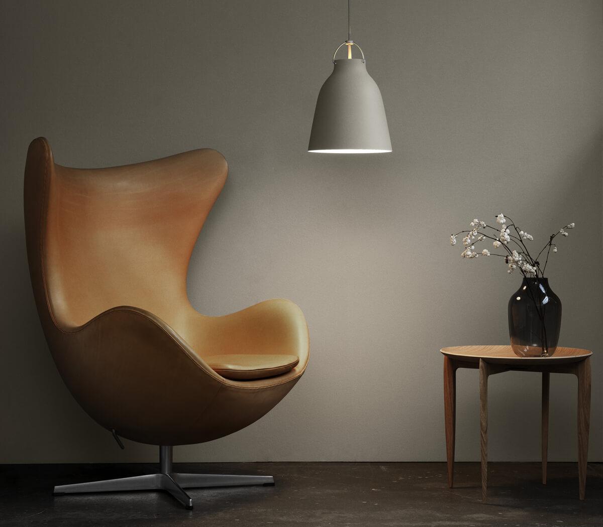 Leather Fritz Hansen Egg Chair and Caravaggio Pendant Light