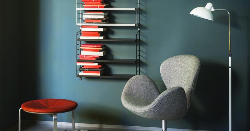Fritz Hansen Kaiser Idell Luxus Floor Lamp with String Pocket Shelving