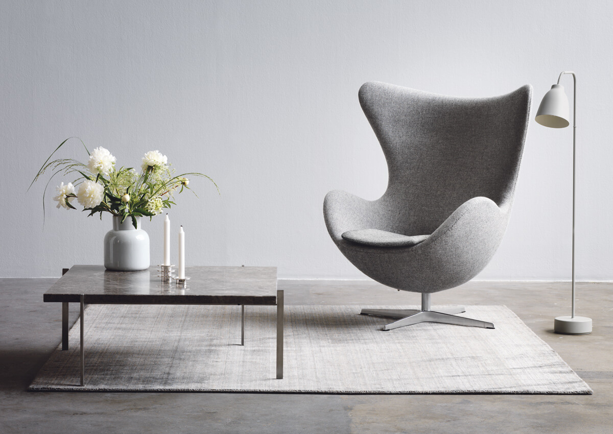 Light Grey Fritz Hansen Egg Chair in Hallingdal Fabric