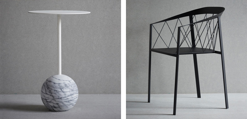 Shining a light on geometric design – Friends and Founders knockout side table with round base and My chair with net backrest