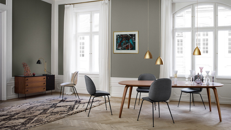 Gubi Beetle Chair in Remix Fabric and Gubi Dining Table Ellipse