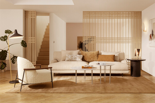 Gubi IOI Coffee Tables in a modern living room