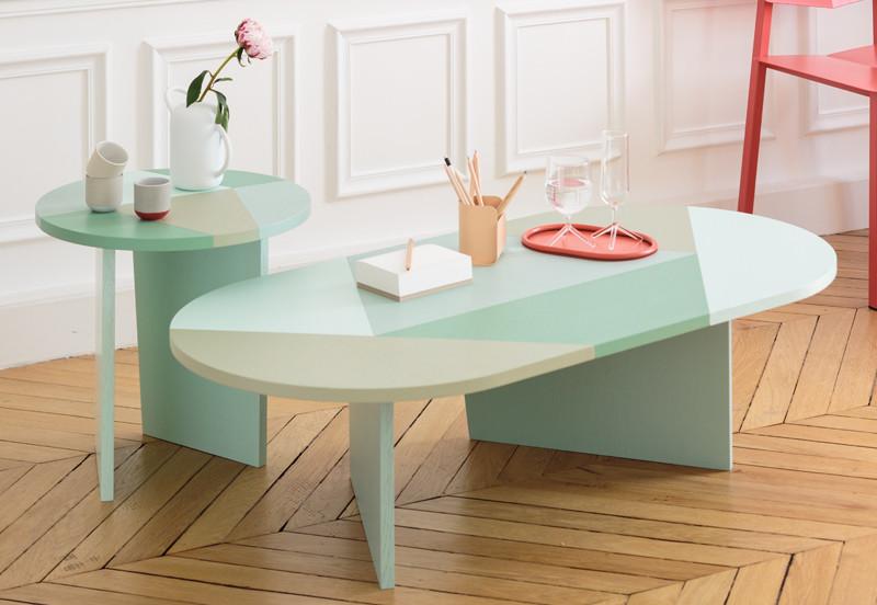 Harto Elise Coffee Table & Harto Zelie Side Table – Green Cameo
