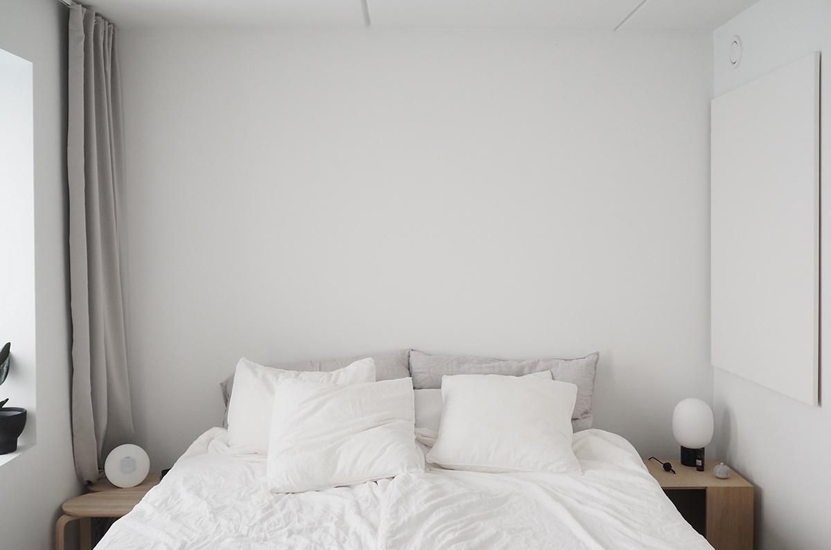 Hannah Trickett's Bedroom Featuring Skagerak Bedside Table, Menu JWDA Table Lamp, Skagerak Turn Stool