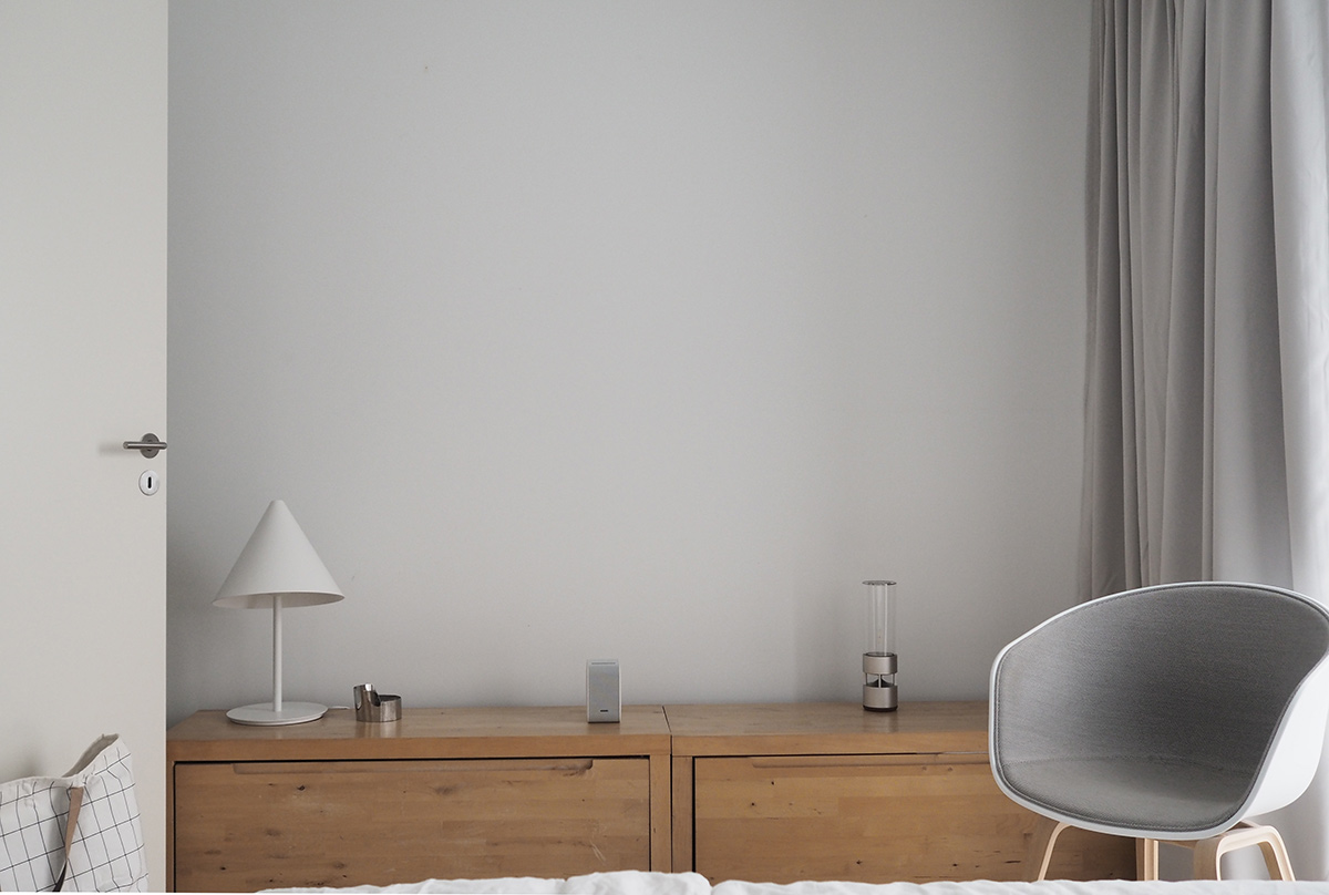 Hannah Trickett's Bedroom featuring the Hay About A Chair, Ferm Living Grid Laundry Basket