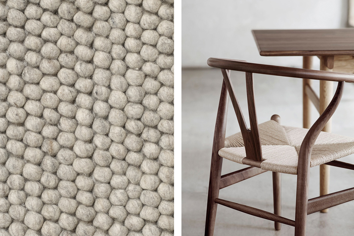 Close up of the Hay Peas Rug and the Carl Hansen CH24 Wishbone Chair